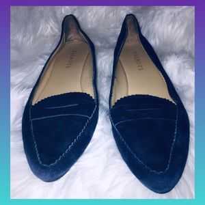 Talbots Navy suede point flats !scalloped edges